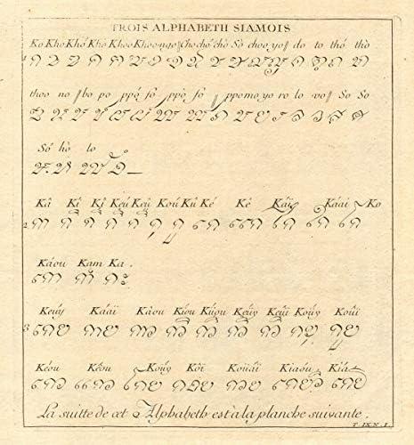 Trois Alphabeth Siamois Thailand Siamese Alphabet Text Script Abugida 1751 Old Antique Vintage Print Art Picture Prints Of Thailand Amazon Co Uk Kitchen Home