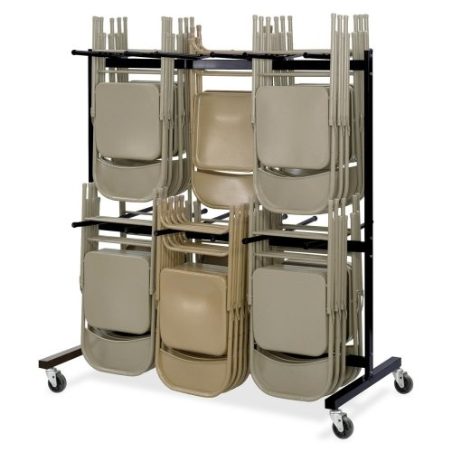Safco Double Tier Chair Cart - 840 lb Capacity - 4 x 4quot; Caster - Steel - 64.5quot; x 33.5quot; x 70.3quot; - Black