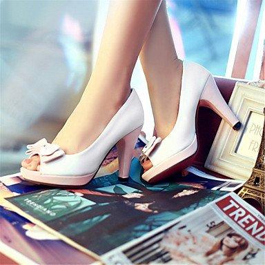LvYuan Mujer-Tacón Stiletto-Confort Zapatos del club-Sandalias-Oficina y Trabajo Vestido Informal-Semicuero-Azul Amarillo Rosa Blanco Blue