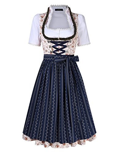 Leoie Women's Floral Criss- Cross Tie Layered Casual Dresses Suit for Oktoberfest by Leoie