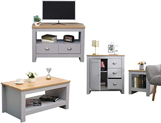 CFDZ CF Furniture - Juego de 4 Piezas de Mesa de café, Mesa de café, Soporte de TV, Armario de Almacenamiento, Moderno, Simple, práctico, Color Gris y Roble: Amazon.es: Hogar