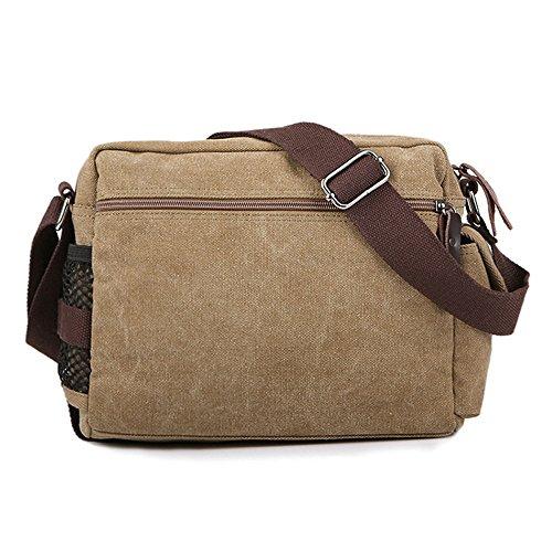 Casual Con Pocket Hombres Vendimia De Cremallera AIYIL Del Messenger De Crossbody Negocios De Viaje Los Multi Hombro La Deepkhaki La Lona Satchel Bag De Bolso 4xx8q6ZwPB