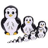 Childplaymate 10pcs/Set Russian Matryoshka Dolls Penguin Pattern Wood Nesting Toy Gift
