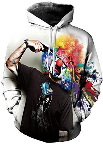 Hoodie Sweats Capuche Sweatshirt Prints 3d Tdolah À Pull Clown Patterned Homme x Unisex Multicolore 5qW8w48t