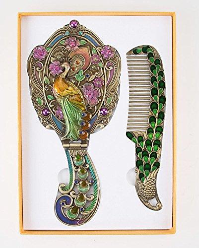 WitnyStore Hand Mirror Comb Antique Set Rose Painted Sterling Metal Vintage Vanity Plate