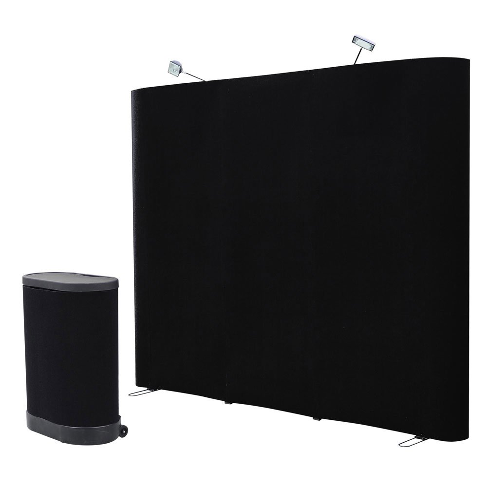 8 FT Black Straight Pop up Display Trade Show Booth Spotlight Podium Case Counter Exhibition Receptive Fabric