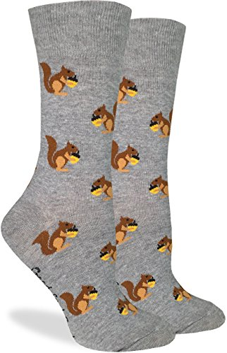 Good Luck Sock Women's Squirrels Crew Socks, Size5-9,Grey