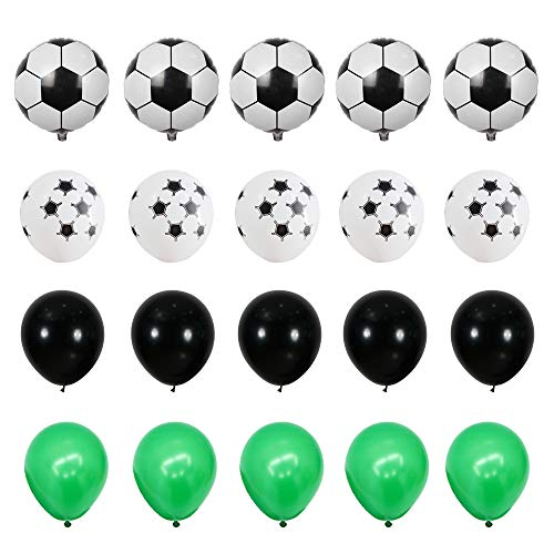 GIHOO 40pcs Soccer Party Supplies - 18inch Foil Soccer Balloon, 12inch Soccer Latex Balloon, 12inch Black & Green Latex Balloon for Football Party Decoration Kids Boy Birthday Party (Soccer) (Balloons Soccer)