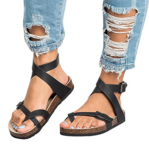 Sheleau Womens Buckle Lace up Flat Sandals Casual Flip Flop Gladiator Footbed Summer Shoes Black