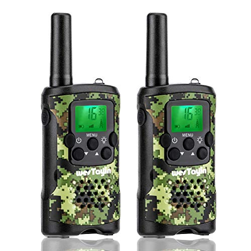Long Range T4801 Kids Walkie Talkies with Vox-Hands Free, Westayin Range Up to 4 Mile Walkie Talkies, 22 Channels with Crystal Sound, Walkie Talkies for Adults, 2 Pack (Green Camo)