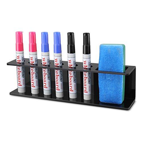 Flexzion Acrylic Wall Mountable 6 Slot Dry Erase Marker & Eraser Holder Storage Organizer Rack - Whiteboard Fineliner Pen Caddy Container Stand (Black)