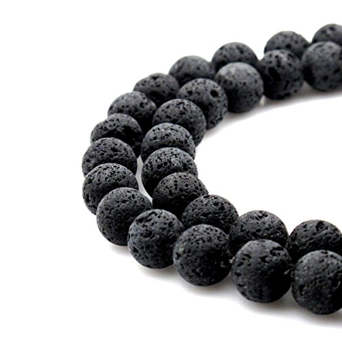 BRCbeads Natural Black Lava Stone Gemstone Round Loose Beads 8mm Approxi 15.5 inch 45pcs 1 Strand per Bag for Jewelry Making