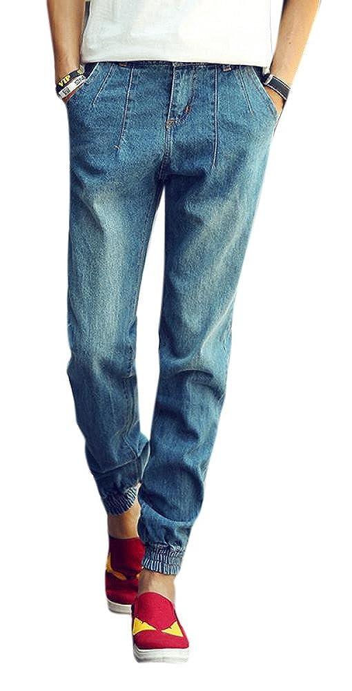 Lingswallow Juniors Cool Casual Loose Slim Blue Skinny Jeans Joggers Pants
