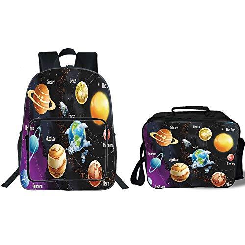 "iPrint 19"" School Backpack & Lunch Bag Bundle,Outer Space De"