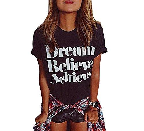 ZAWAPEMIA Womens Cotton Letter Printed Casual T-Shirt Top