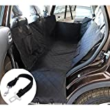 Waterproof Non-Slip Dog Car Seat Cover For SUV Truck Cars Backseat Hammock with Seat Anchors and Safety Belt Black 53.1×58.2 inch