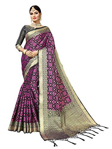 Women's Art Silk Woven Patola Indian Wedding Self Design Saree (6832_Black) by Sourbh