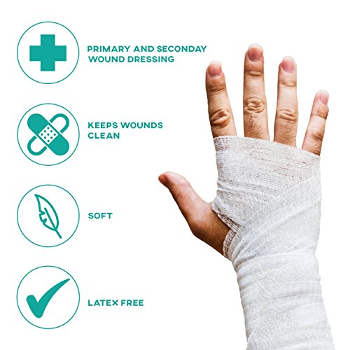 6-Pack Sterile Gauze Medical Bandage Wrap Rolls - 100% Cushioned Cotton - Latex Free - FDA Approved - Hospital Grade Quality – Super Absorbent & Resistant - For Primary or Secondary Dressing – 4-Yard by FlexTrek (Image #3)