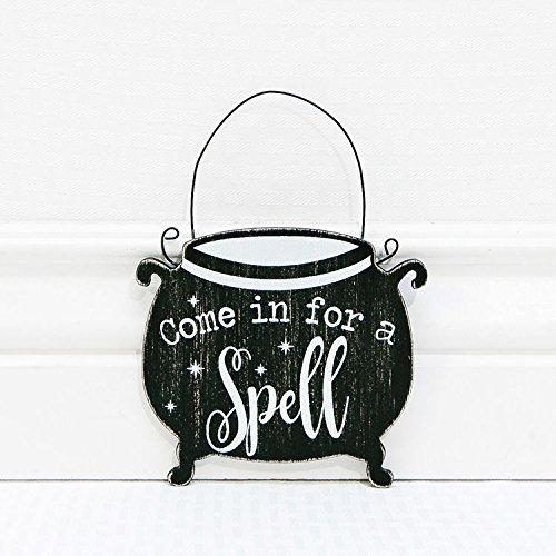 Adams & Co Halloween Decor - Come In For A Spell Cauldron Ornament