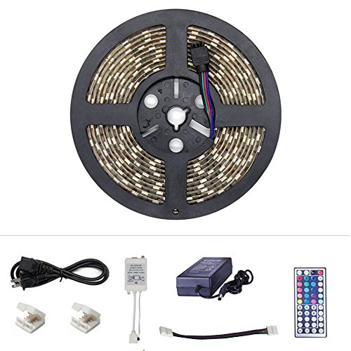 Color Changing Strips - 16.4ft SMD5050 RGB Changing Color LED Rope Lights with 300LEDs, Remote Control,12V DC. Non-Waterproof RGB Flexible String Lights as Indoor LED Strip Lights for Sitting Room etc