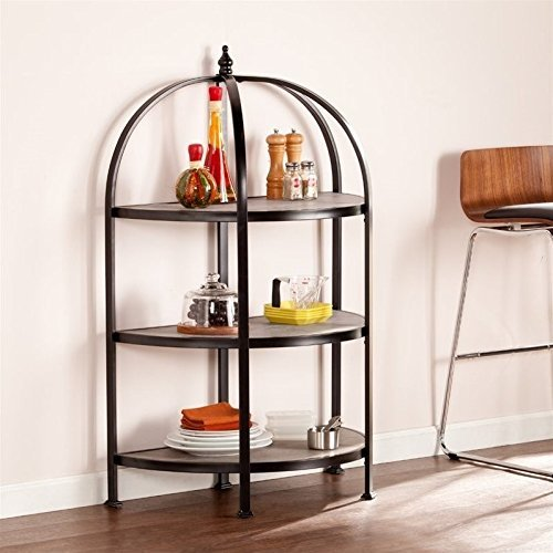 Southern Enterprises Vernon 3-Tier Rotunda in Matte Black by Southern Enterprises