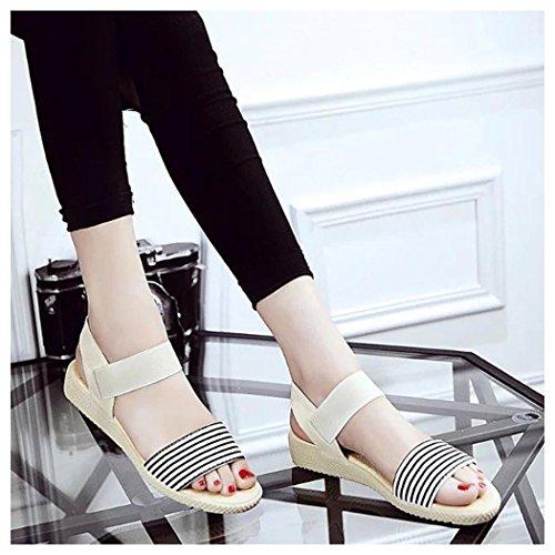 Sandales Dété, Inkach Femmes Été Bohème Rayure Sandales Clip Toe Chaussures De Plage Beige