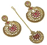 Bollywood Stye Ethnic Fashion Beautiful Gold Plated Crystal Stone Polki Earrings with Maangtikka Jewelry