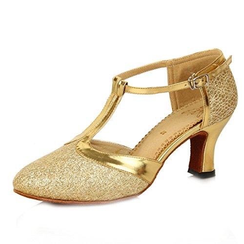 Des Mädchens Der Frauen Professional Latin Schuhe Obermaterial Satin Sandalen Salsa / Ballroom Dance Schuh Med (weitere Farben) Gold