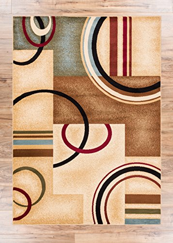 Area Rug 5x7 53 X 73 Easy To Clean Stain Fade Resistant Shed Free Abstract Contemporary Color Block Boxes Lines Soft Living Dining Room