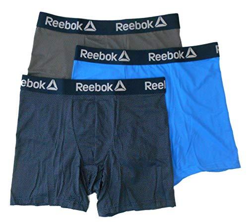 Mini Dot Boxer - Reebok Men Underwear 3 Pack Boxer Brief - 191 - Mini DOTS Polka (P02 - Blue, Large)