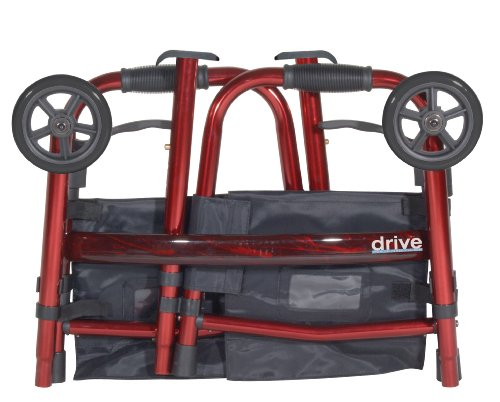 Drive Medical Deluxe Portable Folding Travel Walker with 5' Wheels and Fold up Legs, Red