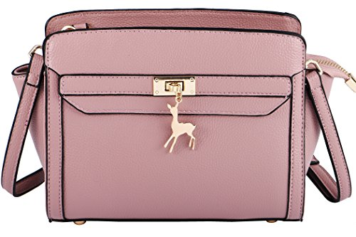 Haming Women's Genuine Leather Crossbody Bag Real Leather Shoulder Bag Pink by Haming