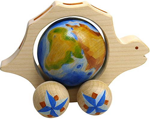 [Small Wooden Pull Along Toy - Turtle with a Globe inside the Belly - Handcrafted and Handpainted Waldorf Toy - Montessori toy - 4 ¾