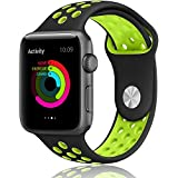 Apple Watch Band,LOHG 42mm Soft Silicone Bracelet iwatch Bands Sport Replacement Strap Wristband with Ventilation Holes for Apple Watch Nike+, Apple Watch Series 1/2 (( 42MM -- Black / Volt Green))