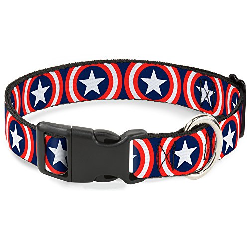 Buckle-Down Marvel Universe   Captain America Shield Repeat Navy Plastic Clip Collar, Large/15-26