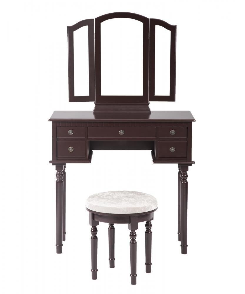 PayLessHere Makeup Vanity Table Set Tri-Folding Mirror Makeup Table With 5 Drawers by PayLessHere (Image #2)
