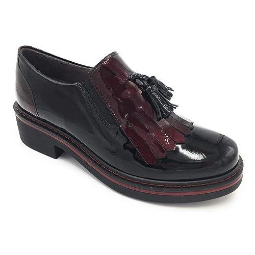 Pitillos 5331 mocasín Flecos y Borla Combinado Charol Negro: Amazon.es: Zapatos y complementos