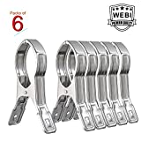 6 Packs WEBI Double Strong Jumbo Stainless Steel Quilt Hanger Clips Clothes Beach Towel Boca Clips Pegs Hanger Clothing Pins for Clothesline Hangers, Quilt, Pool Loungers , Windproof, 5.5 Inches