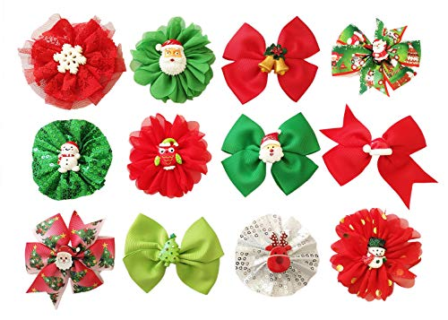PET SHOW 12pcs Xmas Small Dogs Collar Bows Flowers Attachment Bowties Medium Large Pet Collar Accessories Charms Slides Bow Ties Christmas Party ()