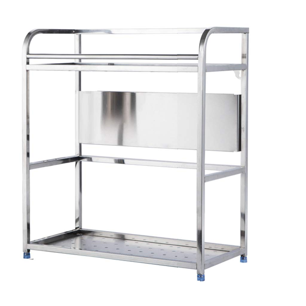 WLNKJ Kitchen Countertop Storage Rack Bracket, Floor-Standing 2-Layer Seasoning Storage Rack, Stainless Steel Multi-Function Kitchen Seasoning Rack - Silver,a,35cm