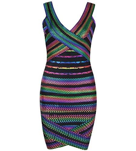 Bqueen Women's Bandage Dress Sleeveless V-Neck Cross Irregular Sexy Foil Club Dress BQ14203 (XL, Multicolor) (Sexy Foil)