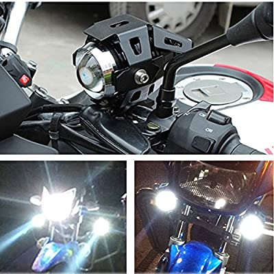 U5 Motorcycle Headlight, Waterproof CREE LED Motorcycle Lights Bulb Fog Headlights LED Driving Light for Bicycle Motorcycle Boat Truck ATV Jeep Headlight Travel Camp (Black 3 Modes, 2PCS): Automotive