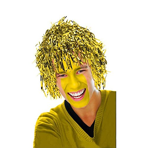 Amscan Fun Tinsel Wig Funny Costume Party Headwear, Gold, 10 x 3.6""