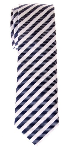 (Retreez Stripe Woven Skinny Tie - Navy Blue and White Stripe)