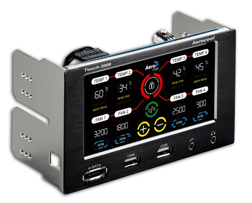 Aerocool Fan and Temperature Controller with USB 2.0, eSATA and Audio/Mic Ports (Touch2000)