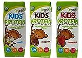 Orgain Kids Protein Organic Nutritional Shake 3 Flavor Sampler Bundle, (1) Each: Vanilla, Chocolate, Strawberry, 8.25 fl oz