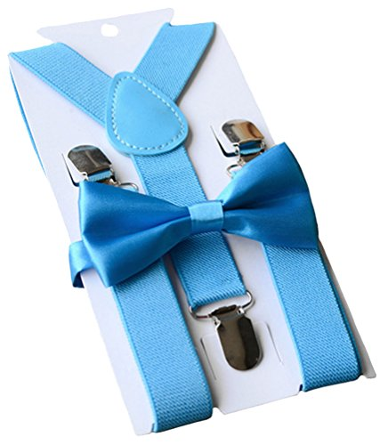 UDRES Unisex Kid Boys Girls Adjustable Bow tie & Suspender Sets (One Size, Blue)