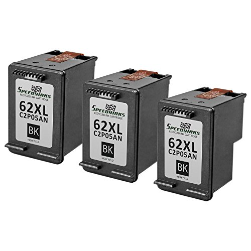 Speedy Inks - 3PK Remanufactured Replacement for HP 62XL HP C2P05AN High-Yield Black Ink Cartridge For use in :ENVY 5640, 5642, 5643, 5644, 5646, 5660, 7640, 7645, OfficeJet 5740, 5742, - Remanufactured Printer Inkjet