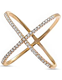 Sterling Silver .925 Yellow Gold Plated Women's Cubic Zirconia CZ Criss Cross X Fashion Ring Sizes 5-10