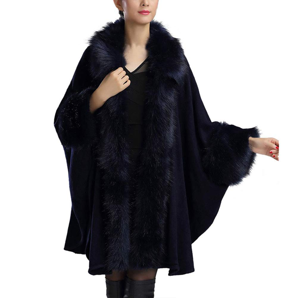Poseca Fashion Women Furry Cape Plus Size Knit Wrap Scarf Shawl Cape Coat With Luxury Faux Fur Collar